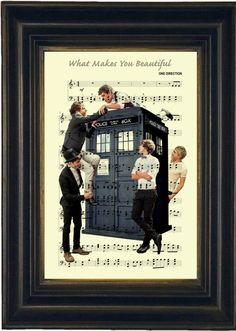 One Direction on Dr Who Tardis Print on Recycled Sheet Music Mixed Media Digital Print page