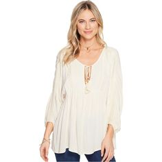 Billabong Gold Dust Woven Top (White Cap) ($25) ❤ liked on Polyvore featuring tops, blue, boho tops, v neck 3 4 sleeve top, embroidered peasant top, white peasant tops and blue top