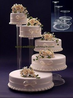 5 tier cascading wedding cake stand stands set & Acrylic Cake Stand Plates | Christmas wedding themes Wedding pins ...