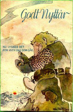 Nyttårskort Chr Kittelsen utg Åsmund S Lærdal brukt 1942