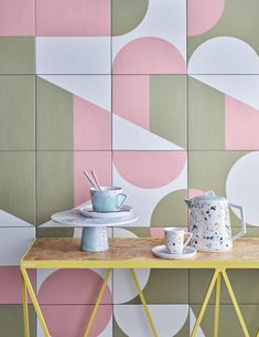 Layer up bold blocks of vibrant colour and vivacious pattern to create a sunny, Hockney-inspired space Tile Art, Mosaic Tiles, Cement Tiles, Tile Murals, Tiling, Mutina Puzzle, Bathroom Inspiration, Interior Inspiration, Home Fashion