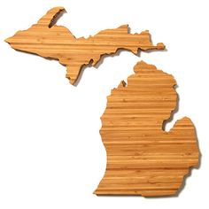Michigan State Shaped Cutting Board In Bamboo Hostess by AHeirloom