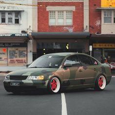camo vinyl wrap with red wheels. Volkswagen Passat B5  volkswagen vw passat b5 jetta bora golf gti turbo bbs