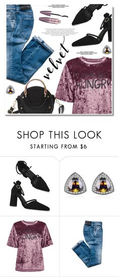 """""""Crushing on Velvet"""" by gamiss ❤ liked on Polyvore featuring Maybelline, StreetStyle, casual, velvet, zaful and gamiss"""
