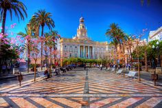 View of the Town Hall in Cadiz, Andalusia, Spain Rota Spain, Andalucia Spain, Places To Travel, Places To See, Beautiful World, Beautiful Places, Spanish Towns, Seville Spain, Town Hall