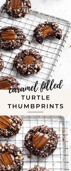 These turtle thumbprint cookies complete with a gooey caramel center and chopped pecans AKA the perfect christmas cookie this season!