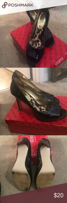 Black peep toe heels Black patent leather heels in great condition. Only signs of wear are on the sole as pictured. Comes with the box. Guess by Marciano Shoes Heels