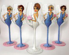 Hand Painted Wine Glass Party wedding by AlenaShop SSOOOOO CUTE!!