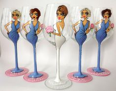 Hand Painted Wine Glass Party wedding by AlenaShop SSOOOOO CUTE!!
