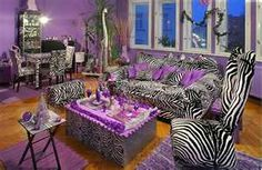 Purple With Zebra Print living room