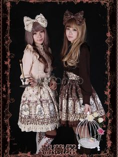Classic Single-Breasted Ruffles Cotton Lolita Skirts-No.4