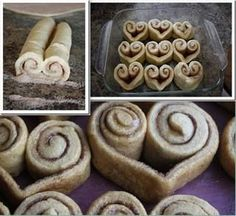 Cinnamon Heart Rolls - Instead of rolling the cinnamon rolls straight across, roll up both sides until they meet in the middle. Slice and bake :) Mais Cinnamon Roll French Toast, French Toast Bake, Cinnamon Rolls, Brunch Recipes, Dessert Recipes, Top Recipes, Breakfast Casserole With Biscuits, Breakfast Pizza, Cinnamon Hearts