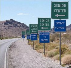 One man's Funnies: Road signs to Senior Center Really Funny, The Funny, Funny Life, Super Funny, Funny Jokes, Funny Stuff, Hilarious Sayings, Funny Ads, Jokes