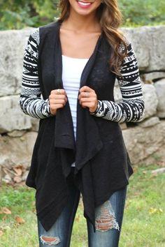 Vintage Patterned Long Sleeve Irregular Cardigan For Women