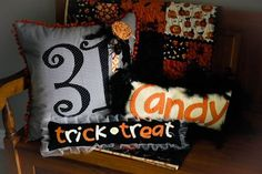 Halloween Pillows DIY - use a Cricket to cut out letters
