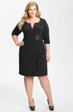 Adrianna Papell Embellished Matte Jersey Sheath Dress - Plus Size Black.jpg