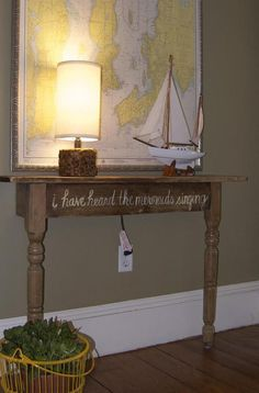 DIY hall table perfect for a small hallway... Minus the mermaids