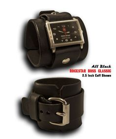 Black Rockstar Boss Classic Leather Cuff Watch with Stainless Steel Face, Sapphire Lens & 10ATM Waterproof