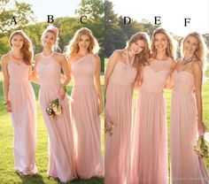 2017 Pastel Pink Cheap Long Lace Chiffon Bridesmaid Dresses Mixed Style Blush Bridesmaid Formal Prom Party Dress With Ruffles Custom Made Two Tone Bridesmaid Dresses Vintage Inspired Bridesmaid Dresses From Bestdeals, $103.24| Dhgate.Com #bridesmaidsdresses