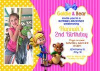 Goldie & Bear Birthday Party Invitations.  Pink and yellow colors. Your little goldilocks will love her Goldie and Bear Birthday Celebration. www.koalatydesigns.com