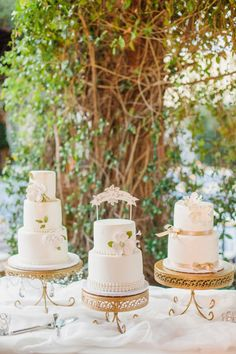 What's better than 3 cakes?! http://www.stylemepretty.com/arizona-weddings/tucson/2015/07/02/tucson-arizona-garden-wedding/ | Photography: Elyse Hall - http://elysehall.com/
