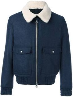 shearling collar zipped jacket