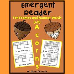 Emergent Reader: Acorns (Ten Frames and Numbers Words 0-20) - Great for guided reading/math groups in kindergarten and first grade. Also great for take home readers. $