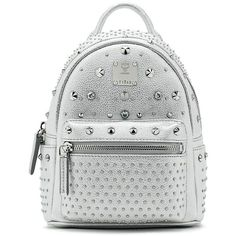 MCM Bebe Boo Special Stark Studded Metallic Leather Backpack ($1,520) ❤ liked on Polyvore featuring bags, backpacks, apparel & accessories, day pack backpack, white studded backpack, leather studded backpack, white backpack and strap backpack