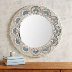 Known for their signature shimmer, capiz shells surround our handcrafted mirror that features natural variations and a blue-tipped gradient effect for texture and depth. Mirror Mosaic, Diy Mirror, Mosaic Glass, Mosaic Bathroom, Mosaic Art, Stained Glass Birds, Stained Glass Panels, Blue Mirrors, Round Mirrors