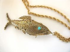 Vintage sterling articulated fish necklace