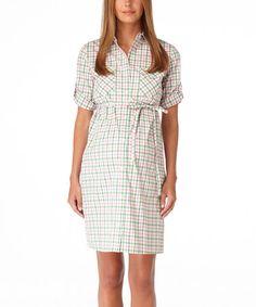 Rosie Pope Maternity Green   Pink Gingham Maternity Shirt Dress 3b60f701b1f5