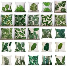 Cheap linen cushion, Buy Quality linen cotton cushion directly from China cotton cushion Suppliers: Tropical Plants Palm Leaf Green Leaves Monstera Cushion Covers Hibiscus Flower Cushion Cover Decorative Beige Linen Pillow Case Green Throw Pillows, Linen Pillows, Accent Pillows, Owl Pillows, Green Cushions, Couch Pillows, Motif Tropical, Tropical Plants, Bedroom Decor
