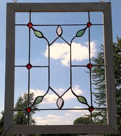 Handmade Wood Framed Stained Glass Window Petals Leaves Window Decor by PetersInc on Etsy https://www.etsy.com/listing/201973601/handmade-wood-framed-stained-glass