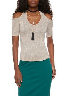 Cold Shoulder Ribbed Top with Layered Choker Necklace,TAUPE