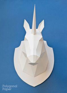 Unicorn Head Template 2D by Polygonal Paper por PolygonalPaperShop