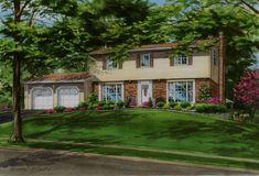 Watercolor custom home portrait of Oakville residence. Created by Custom House Portraits by Richelle Flecke