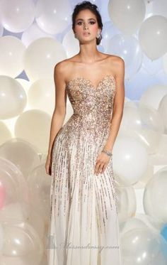 Strapless Sequined Evening Gown by Terani Couture Prom 95007P