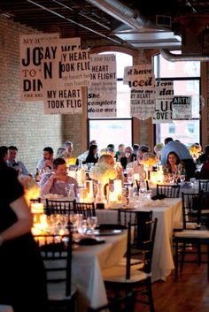 SUPER chic wedding with a cozy-yet-urban feel. (Not everyone can have a barn and mason jars...)