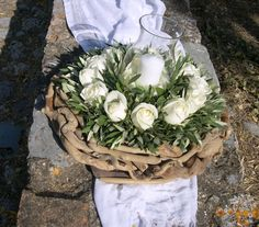 Στεφάνι από θαλασσοξυλα με τριαντάφυλλα και φύλλωμα ελιάς...Δεξίωση | Στολισμός Γάμου | Στολισμός Εκκλησίας | Διακόσμηση Βάπτισης | Στολισμός Βάπτισης | Γάμος σε Νησί & Παραλία.
