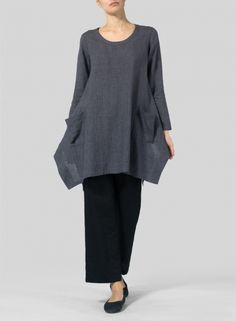 Linen Long Sleeve Top  -  Long sleeves sheer linen. Top off your layered look in a relaxed, airy, slouchy design. The ideal alternative to a casual tee.