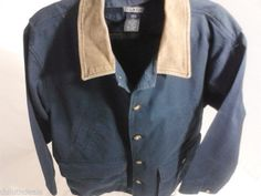 LANDS END Blue Cotton Jacket with Leather Collar Size LARGE 42 to 44