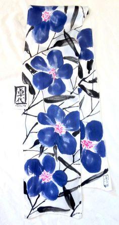 Handpainted Silk Scarf Blue Silk Scarf by SilkScarvesTakuyo