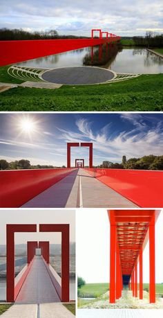 The red gateway pedestrian bridge, Cergy-Pontoise, France, designed by Dani Karavan. Cool red bridge