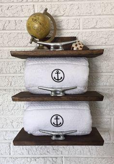 Nautical Towel Rack, Coastal Storage, Beach Decor, Bathroom Shelf, Restroom Powder Room Storage Solution by BeachDwellerBoutique on Etsy https://www.etsy.com/listing/551717571/nautical-towel-rack-coastal-storage