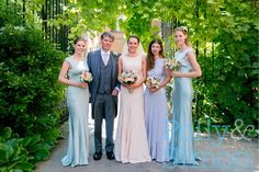 Me with my dad, my bridesmaids and my maid of honour. My dress by Diane von Furstenberg, bm dresses by Ghost. Flowers by Fabulous Flowers, Oxford. Photo by Polly and Simon. http://www.pollyandsimon.com/