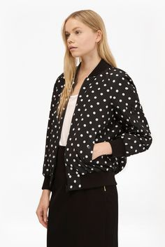 Dotty Spot Reversible Bomber Jacket | Womens Jackets | French Connection Usa