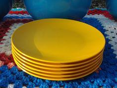 Set of 6 Yellow Melamine Tea Plates ~ The Picnic Patch ~ Vintage Picnic