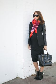 Plaid Pop // Helmut Lang jacket // Tibi Boots // Old Navy scarf + dress #oldnavystyle