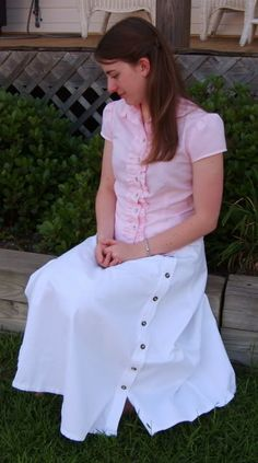 Thoughts and Thimbles: Week in Feminine Dress: Friday (and a new blouse!)