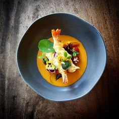 Sage-Pumpkin Gnocchi, Crispy King Prawn Tempura, Spiced Butter Tomato Fondue 💥💥 by 👉 Join our Cookniche community and… Seafood Recipes, Gourmet Recipes, Cooking Recipes, Pumpkin Gnocchi, Bistro Food, Food Design, Food Presentation, Food Plating, Food For Thought